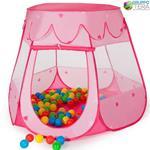 Tenda Gioco Per Bambini Con 100 Palline Colarate Bakaji Rosa Pop-Up Con Sacca