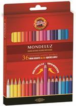 Pastelli acquarellabili Mondeluz Koh-I-Noor con mina gigante 3,8 mm. Confezione 36 matite colorate