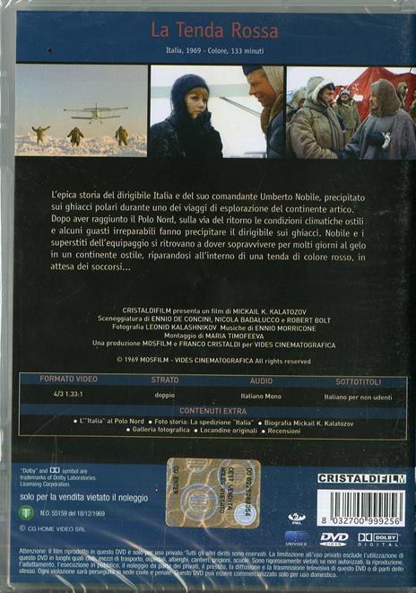 La tenda rossa di Mikhail Konstantinovic Kalatozov - DVD - 2
