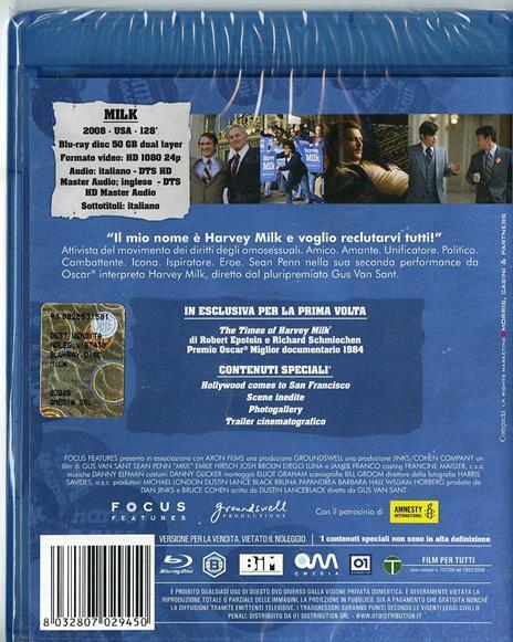 Milk di Gus Van Sant - Blu-ray - 2