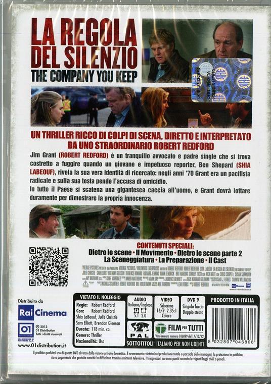La regola del silenzio. The Company You Keep di Robert Redford - DVD - 2