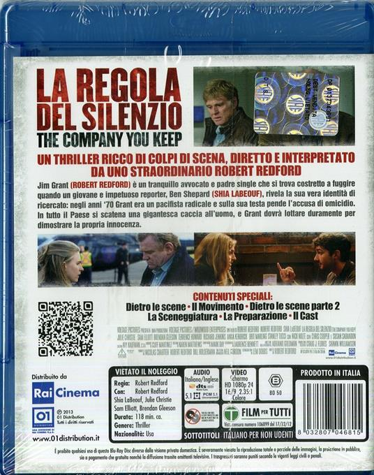 La regola del silenzio. The Company You Keep di Robert Redford - Blu-ray - 2