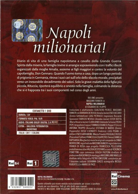 Napoli Milionaria! di Massimo Ranieri,Franza Di Rosa - DVD - 2