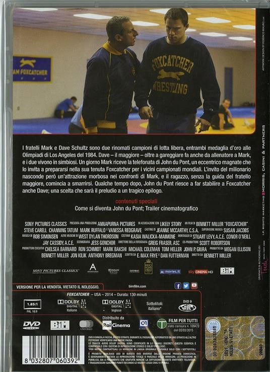 Foxcatcher. Una storia americana di Bennett Miller - DVD - 2