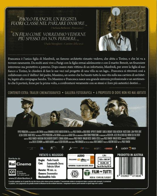 Dove non ho mai abitato (Blu-ray) di Paolo Franchi - Blu-ray - 2
