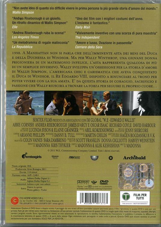 W.E. Edward e Wallis di Madonna - DVD - 2