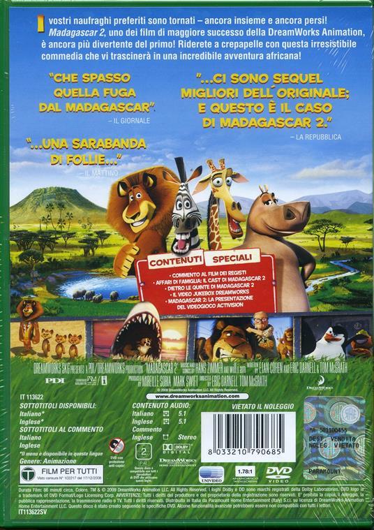 Madagascar 2 (1 DVD) di Tom McGrath,Eric Darnell - DVD - 2