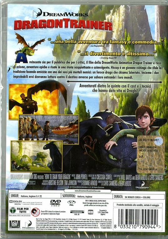 Dragon Trainer (1 DVD) di Dean DeBlois,Chris Sanders - DVD - 2