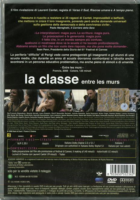 La classe. Entre les murs di Laurent Cantet - DVD - 2