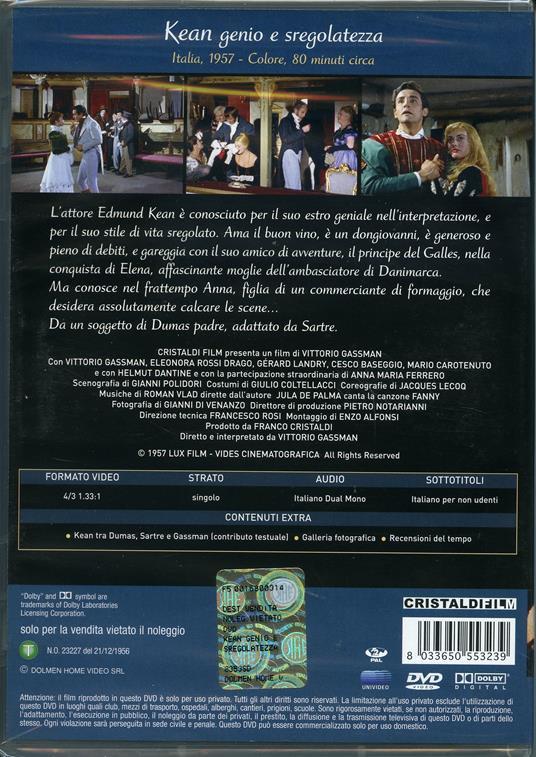Kean, genio e sregolatezza di Vittorio Gassman - DVD - 2