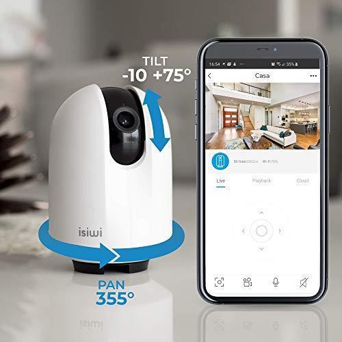 Round Telecamera IP WiFi interno Isiwi per sorveglianza domestica,HD 1080P, Visualizzazione panoramica, Rilevazione di movimenti e suoni anomali, Audio bidirezionale, Baby Monitor con Visione Notturna - 3