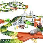 Pista Macchinine Flessibile Parco Dinosauri Costruzione 216 pz con Macchinina