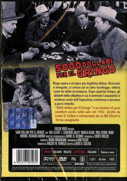 5000 dollari per el gringo di Lewis D. Collins - DVD - 2