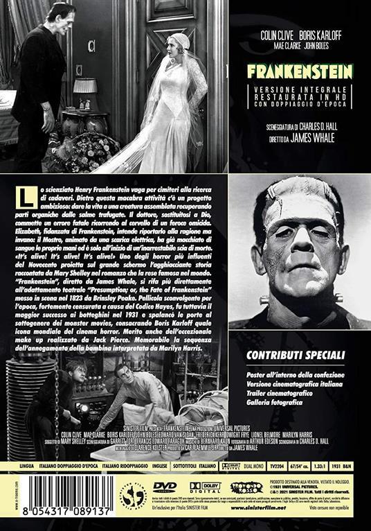 Frankenstein. Restaurato in HD. Con Poster (DVD) di James Whale - DVD - 2