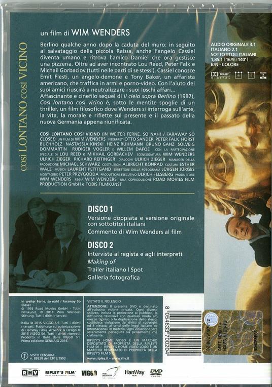 Così lontano, così vicino (2 DVD)<span>.</span> Special Edition di Wim Wenders - DVD - 2
