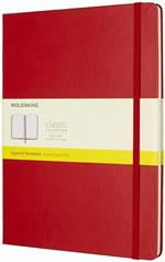 Taccuino Moleskine XL a quadretti copertina rigida rosso. Scarlet Red