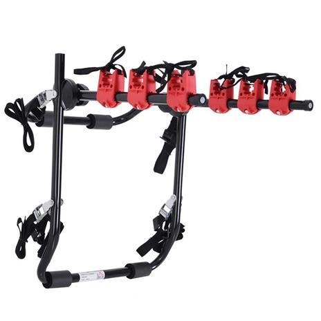 Homcom Portabici Posteriore Pieghevole per Auto portata 3 Biciclette 40 kg in Acciaio e Alluminio, 68x52x60 cm