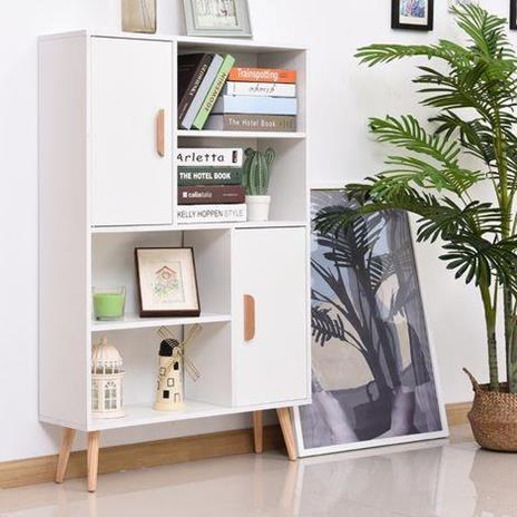 Libreria con Piedini in Legno di Pino Bianco 80 x 23.5 x 123cm