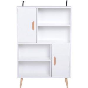 Libreria con Piedini in Legno di Pino Bianco 80 x 23.5 x 123cm - 3
