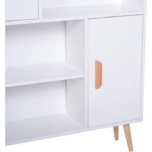 Libreria con Piedini in Legno di Pino Bianco 80 x 23.5 x 123cm - 5