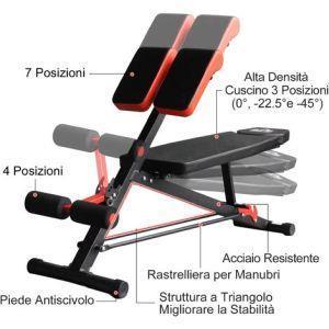 HomCom Panca Multifunzionale Regolabile per Allenamento Gambe Addome e Glutei Nero e Rosso - 5