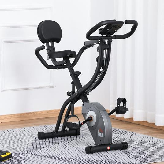 HOMCOM Cyclette Pieghevole con Schienale, Spin Bike con Bande Elastiche, Spinning Cyclette con Display LCD Grigia - 2