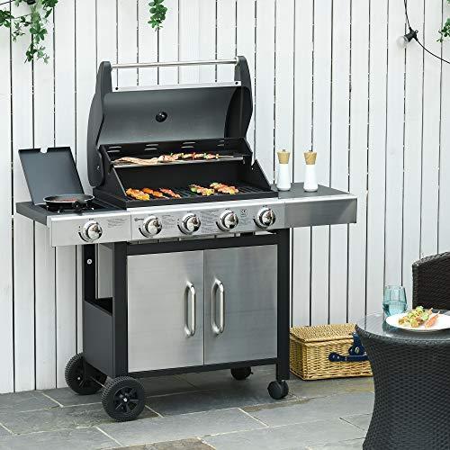 Outsunny Barbecue Gas con Coperchio e Bruciatore Laterale, Termometro, Mensola e 4 Ruote, 128x50x113cm Nero e Acciaio - 2