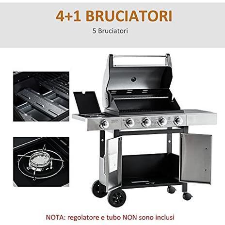 Outsunny Barbecue Gas con Coperchio e Bruciatore Laterale, Termometro, Mensola e 4 Ruote, 128x50x113cm Nero e Acciaio - 3