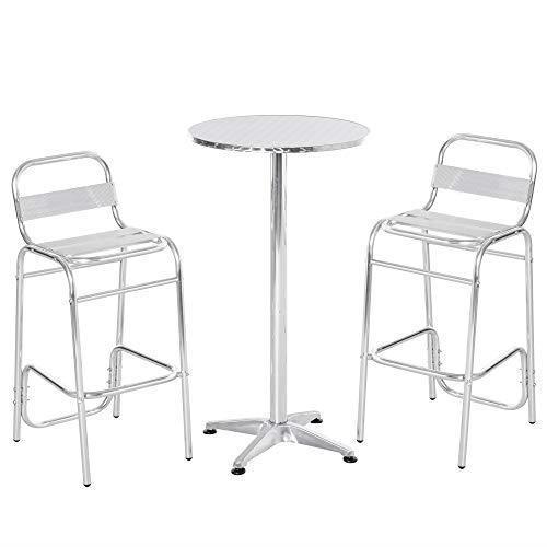 Outsunny Set Tavolino con 2 Sgabelli Alto da Esterno e Interno in Alluminio e Acciaio