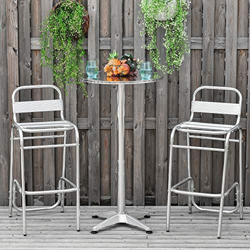 Outsunny Set Tavolino con 2 Sgabelli Alto da Esterno e Interno in Alluminio e Acciaio - 2