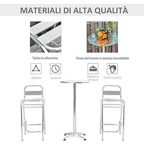 Outsunny Set Tavolino con 2 Sgabelli Alto da Esterno e Interno in Alluminio e Acciaio - 3