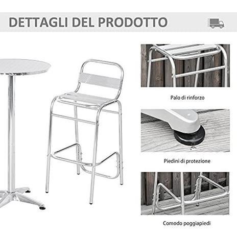 Outsunny Set Tavolino con 2 Sgabelli Alto da Esterno e Interno in Alluminio e Acciaio - 4