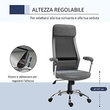 Vinsetto Sedia da Ufficio Ergonomica Girevole, Altezza Regolabile e Dondolamento, Poltrona in Tessuto a Rete 65x60x119-129cm Grigio - 3
