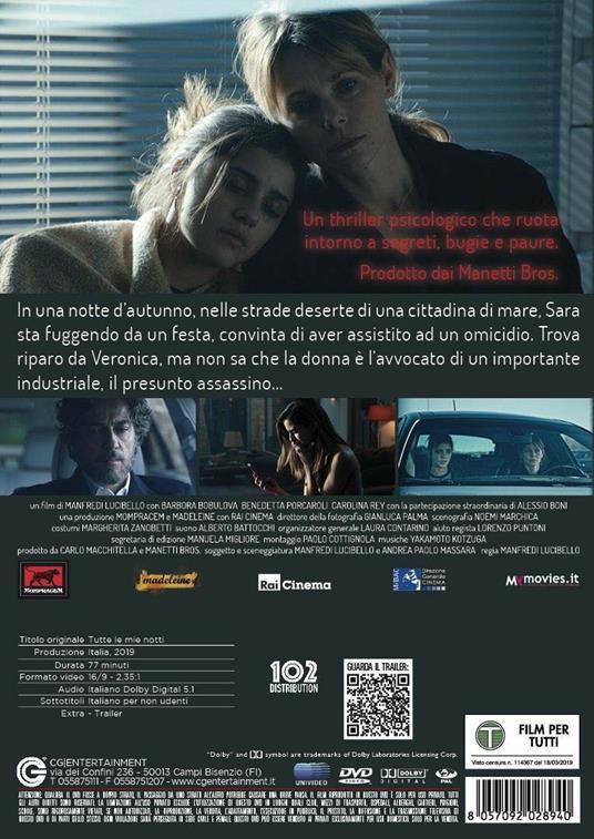 Tutte le mie notti (DVD) di Manfredi Lucibello - DVD - 2