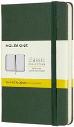 Taccuino Moleskine pocket a quadretti copertina rigida verde. Myrtle Green