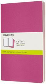 Quaderno Cahier Journal Moleskine large a pagine bianche rosa. Kinetic Pink. Set da 3