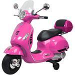 Moto Elettrica Per Bambini Vespa Gts Piaggio Rosa Con Bauletto 12v Ing. Mp3, Led, Sed. Pelle/As236