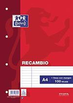 Oxford 100430210 Ricambio 100 Fogli, A4, Orizzontale con Margine