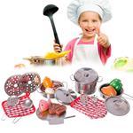 Set Cucina Giocattoli Bambini in Metallo 23pz con Pentole Mestoli e Accessori