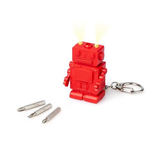 Portachiavi Robot multifunzione con luce rosso