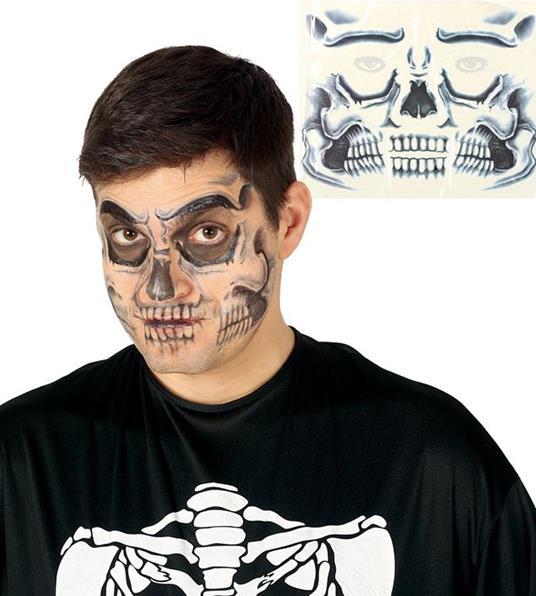 Tatuaggio viso faccia facciale teschio skull horror halloween