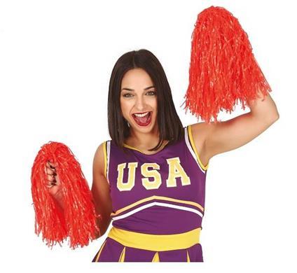 Coppia pon pon in plastica per cheerleaders colore rosso