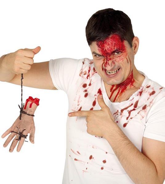 Mano amputata con filo spinato decorazione halloween party horror addobbo cm 21
