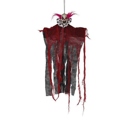 Pagliaccio pendente rosso, nero 60 cm