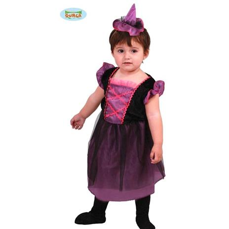 Costume Strega Bambina Fuxia e Nero Halloween Neonato 1- 12 Mesi 64 - 82 cm - 2