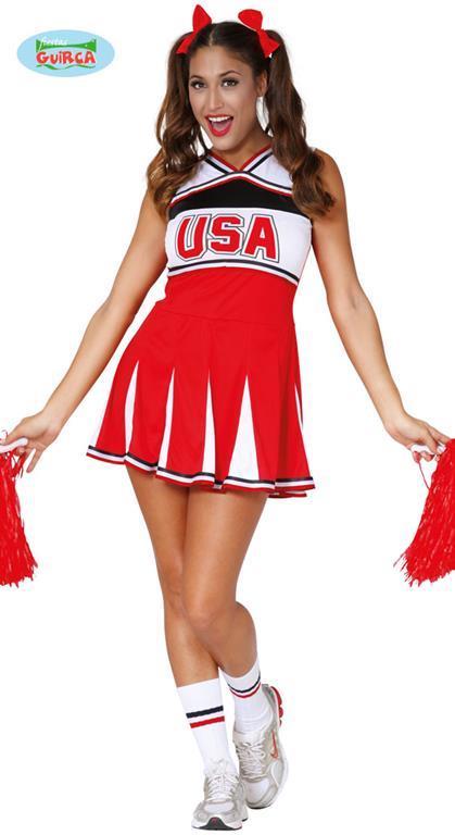 Costume Cheerleader Ragazza Pon Pon. Taglia Unica - 2