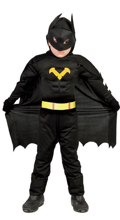 Vestito Eroe Nero Batman 7-9 Anni