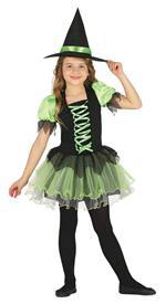 Vestito Strega Tutu Witch Verde E Nera 10-12 Anni