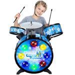 Batteria Musicale Giocattolo Bambini con Cuffie Archetto Sgabello Effetti Luci