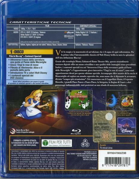 Alice nel Paese delle meraviglie di Clyde Geronimi,Hamilton Luske,Wilfred Jackson - Blu-ray - 2